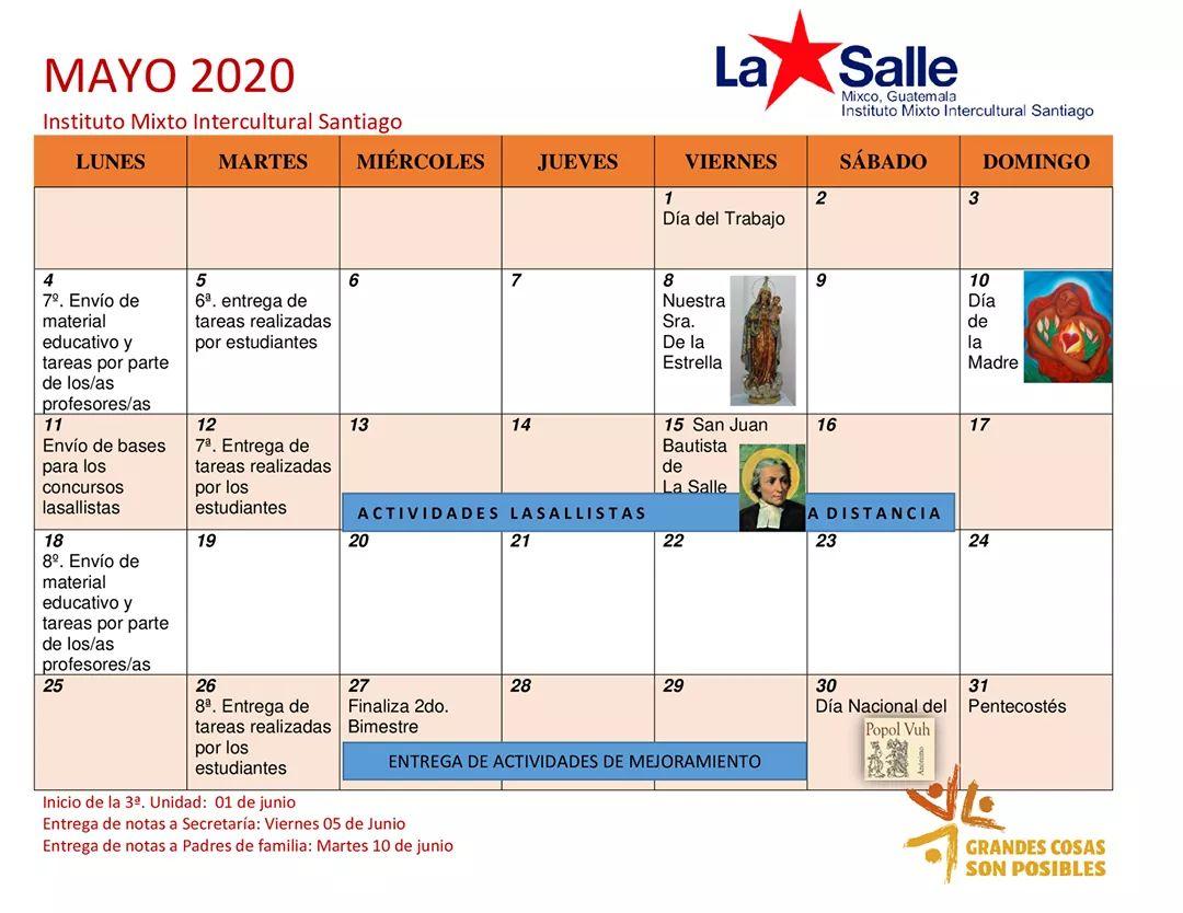 Calendario Actividades Mayo 2020